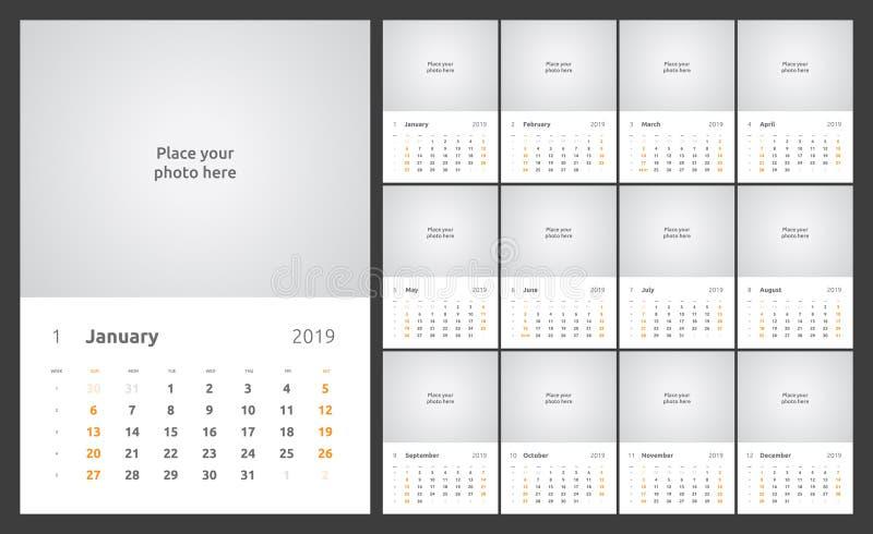 日历设计在2019年 设置12日历页导航设计与地方的印刷品模板照片的 皇族释放例证