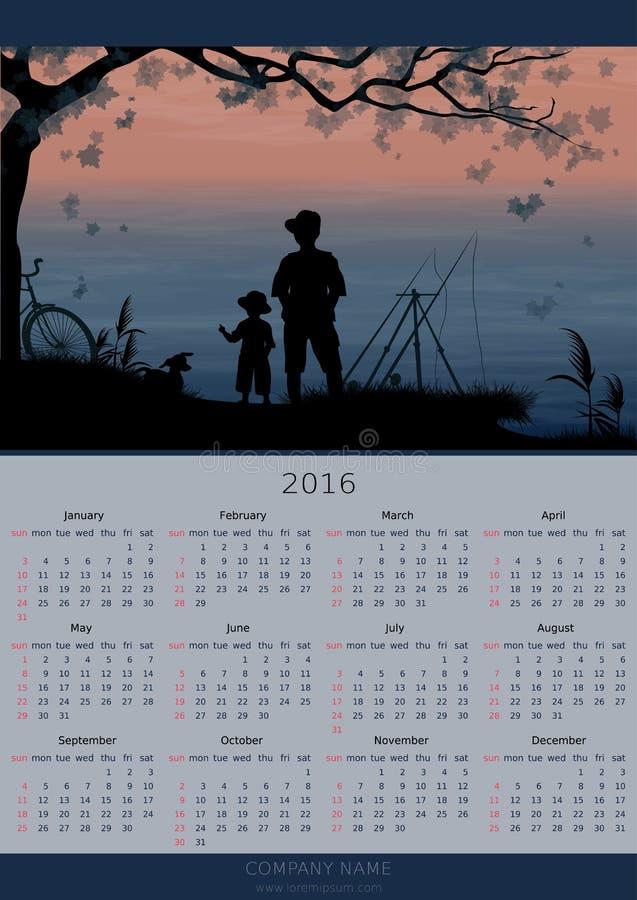 日历设计2016年 捕鱼 皇族释放例证