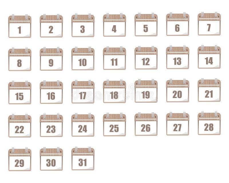 日历象集合 在平的设计样式的象  向量例证