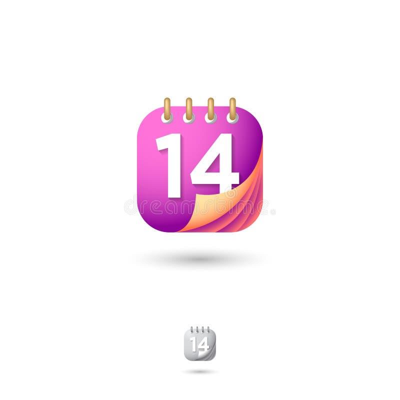 日历象, UI 网按钮 组织者或日志象征 日期和数字象 与阴影的被环绕的方形的标志 皇族释放例证