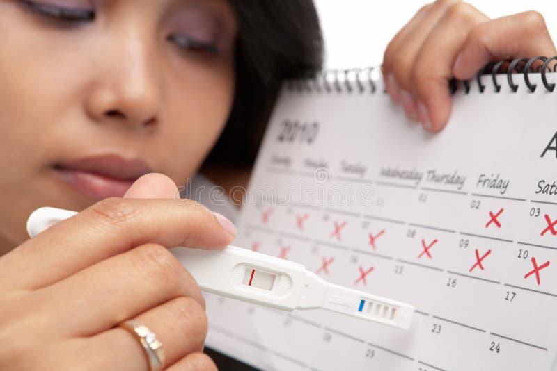 日历负怀孕哀伤的测试妇女 免版税库存照片