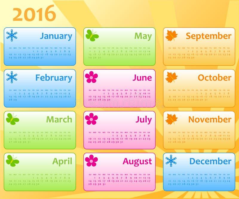 日历颜色模板2016年 库存例证