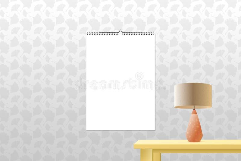 日历黏合剂在墙壁背景的大模型垂直 您广告的设计的螺旋装订的日历模板 库存例证