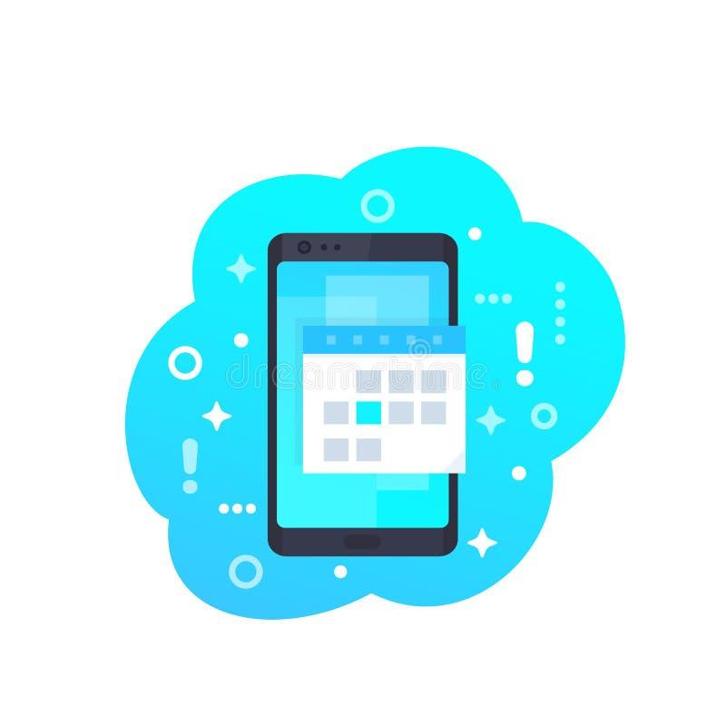 日历,在智能手机传染媒介象的日程表应用程序 库存例证
