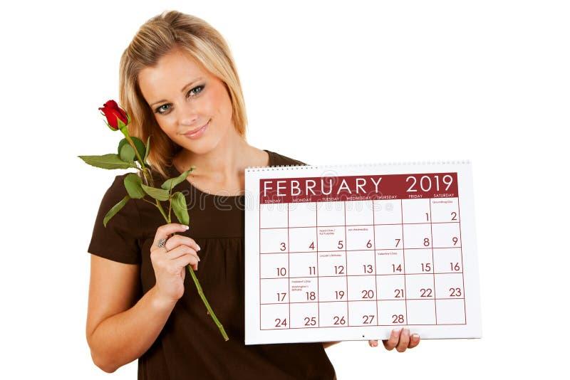 2019日历:拿着2月华伦泰罗斯 免版税图库摄影