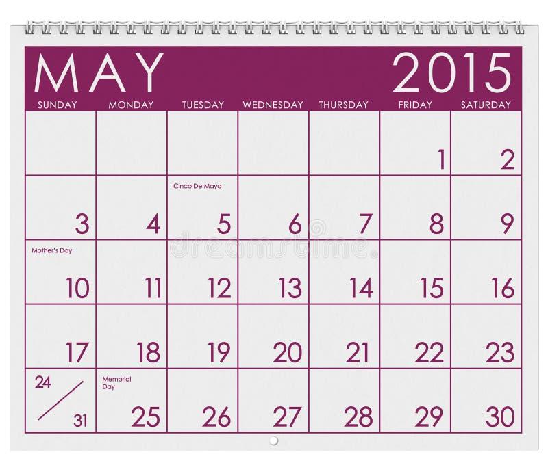 2015日历:月份的5月 皇族释放例证