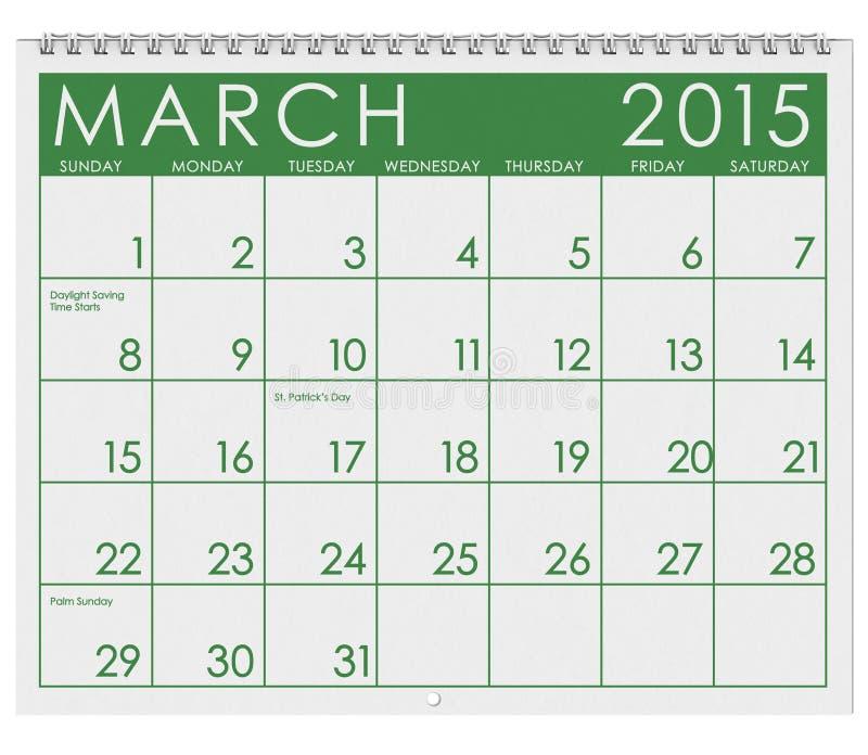 2015日历:月份的3月 库存例证