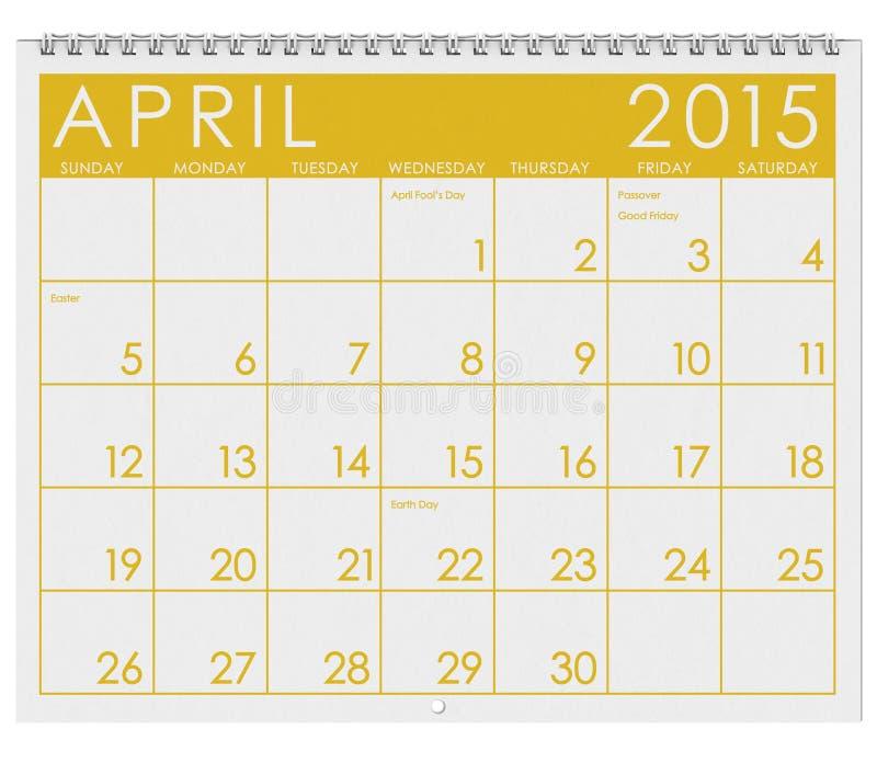 2015日历:月份的4月 皇族释放例证
