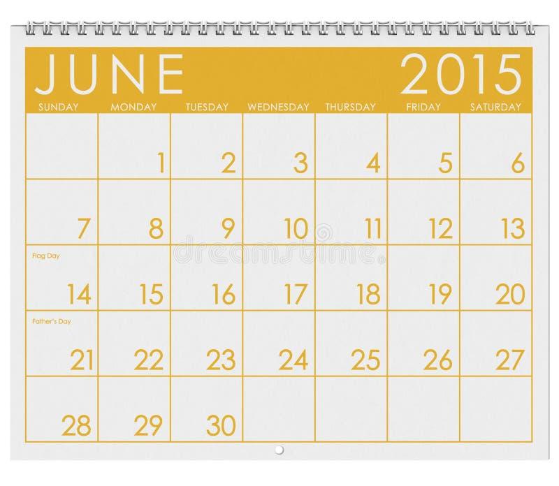 2015日历:月份的6月 库存例证
