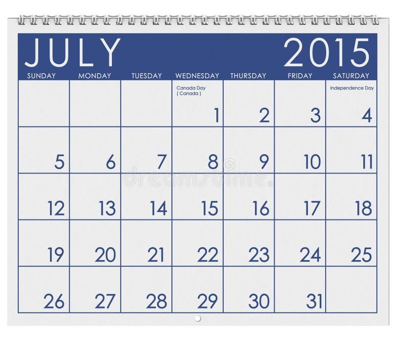 2015日历:月份的7月 皇族释放例证