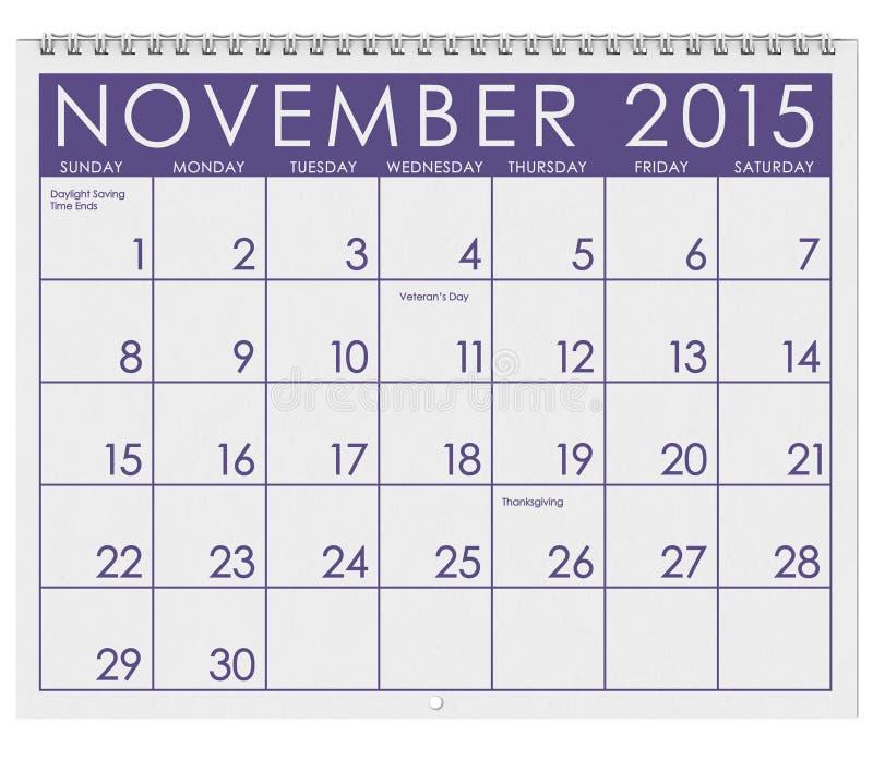 2015日历:月份的11月 库存例证