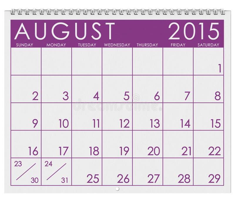 2015日历:月份的8月 皇族释放例证