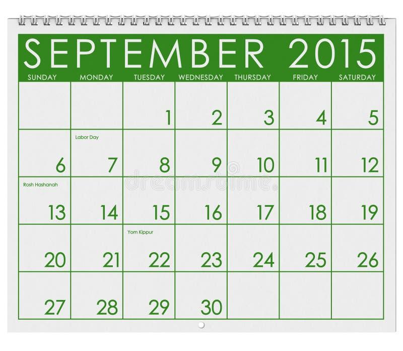 2015日历:月份的9月 皇族释放例证