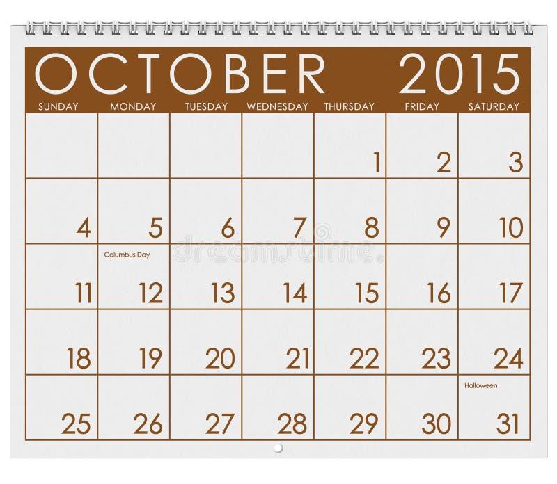 2015日历:月份的10月 向量例证