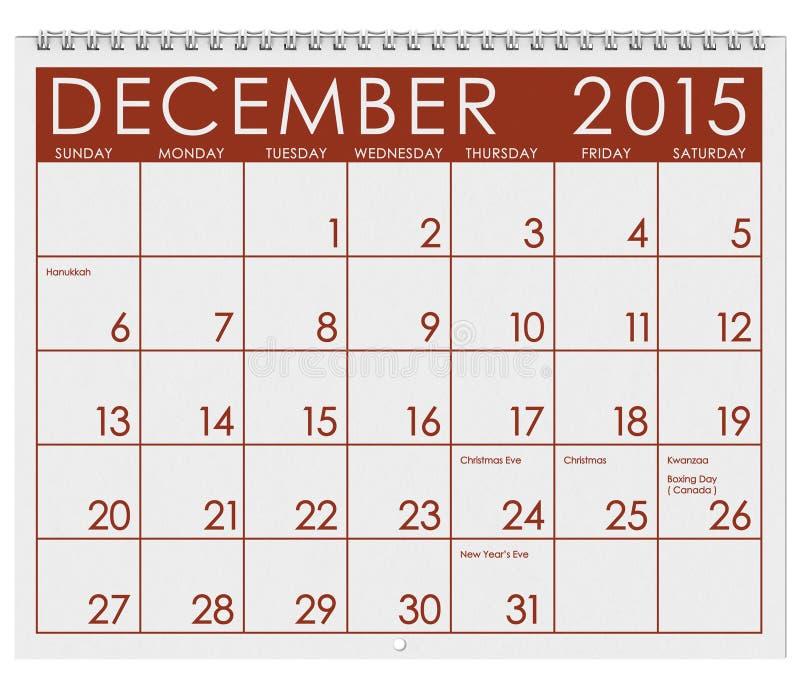 2015日历:月份的12月 向量例证