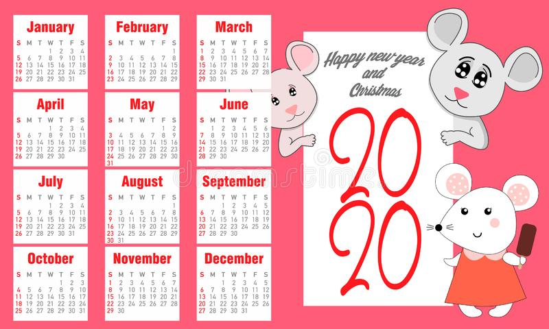 日历2020传染媒介口袋基本网格 简单设计模板 鼠年2020与手拉的illust图片