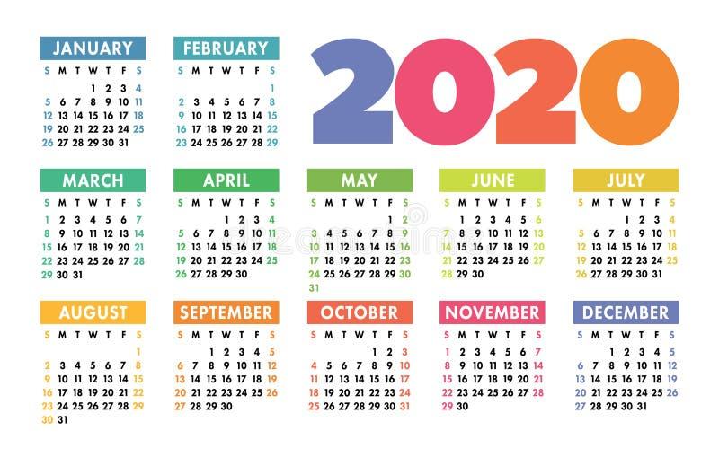 日历2020传染媒介口袋基本网格 简单设计模板图片