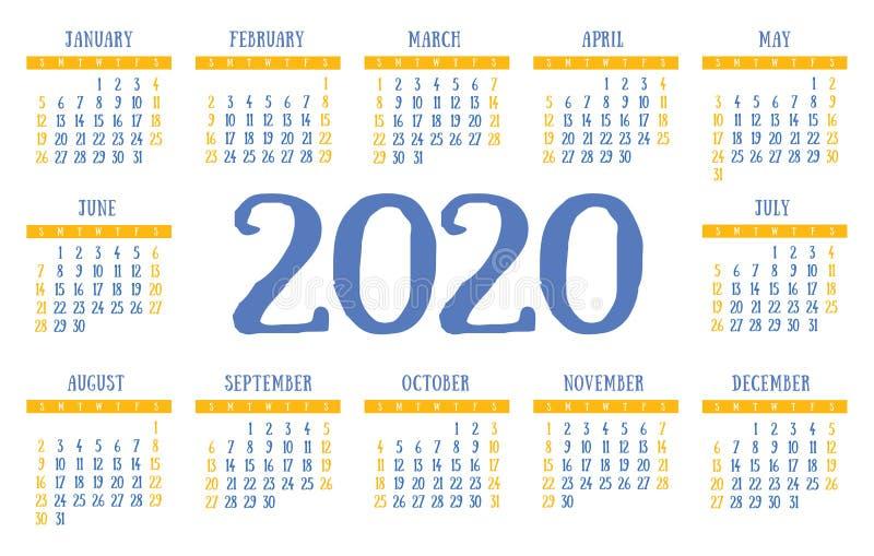 日历2020传染媒介口袋基本网格 简单设计模板. 计划程序, 行军.