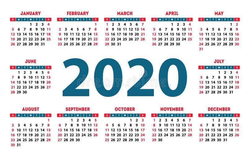 日历2020传染媒介口袋基本网格 简单设计模板. 行军, 办公室.