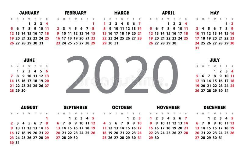 日历2020传染媒介口袋基本网格 简单设计模板. 1月, 例证.