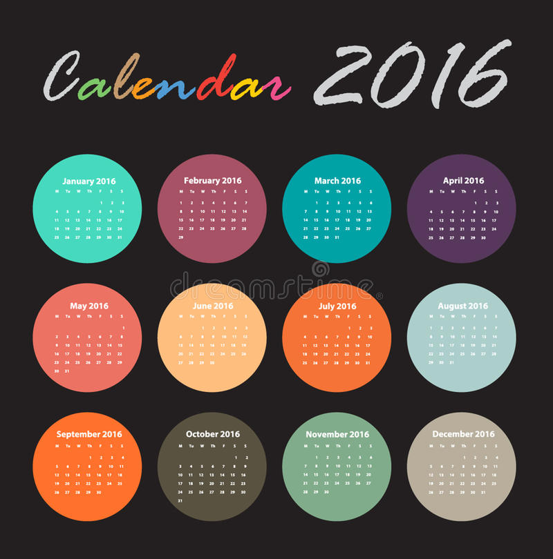日历2016传染媒介设计 库存例证