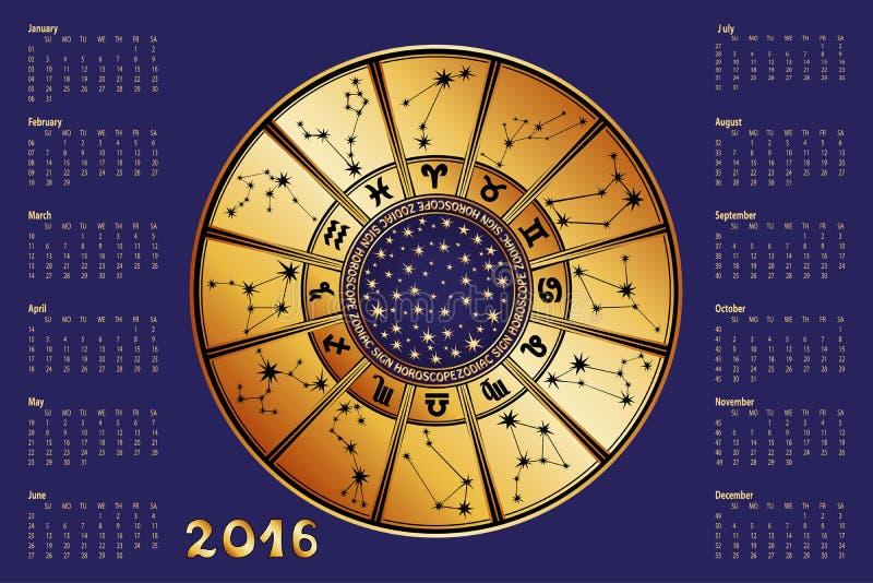 日历2016年 占星圈子 艺术品设计符号符号十二多种黄道带 向量例证