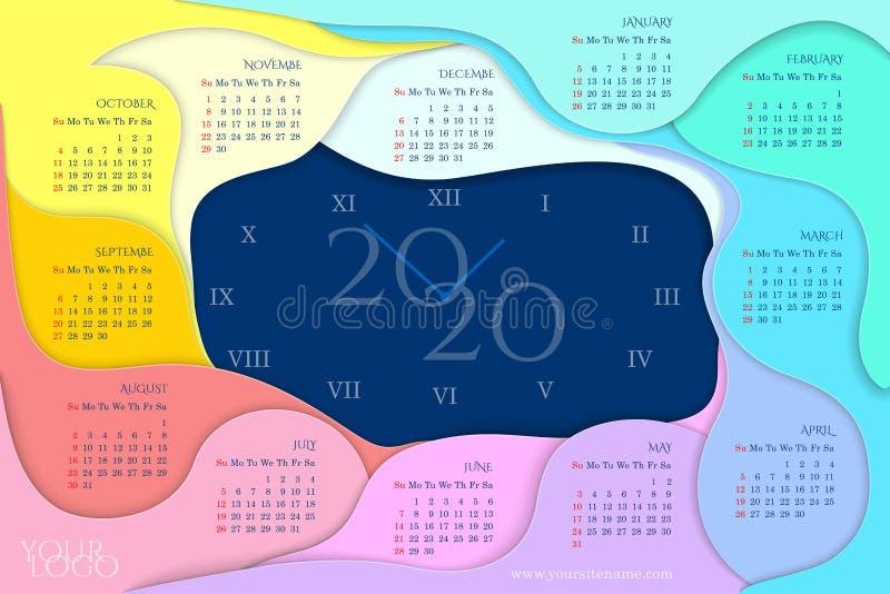 日历2020年与彩虹月,纸裁减样式 向量例证