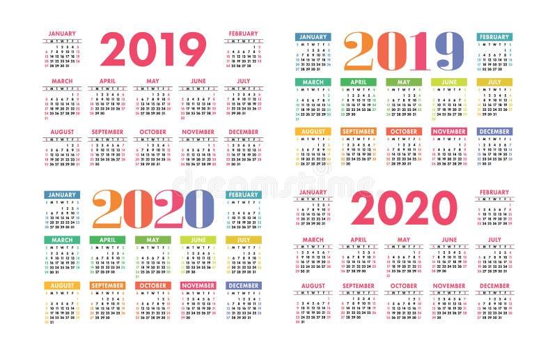 日历2019年和2020传染媒介基本网格 五颜六色的设计