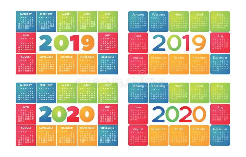 日历2019年和2020传染媒介基本网格 五颜六色的设计. 10月, 任意.