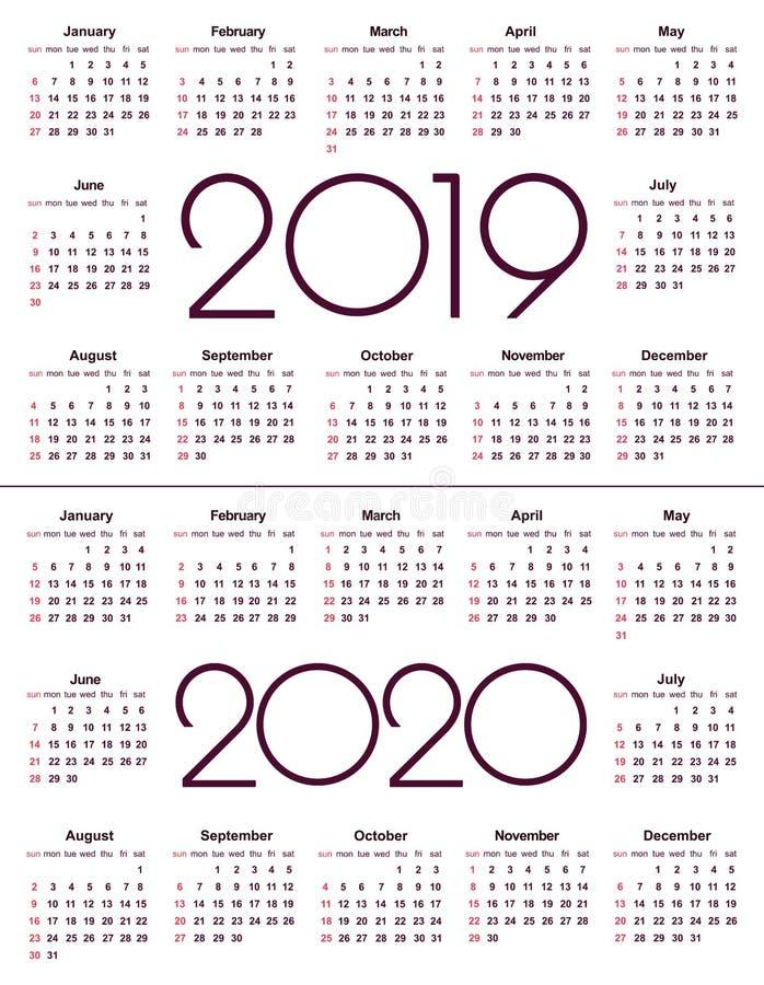 日历2019年和2020年 简单的传染媒介模板 文具设计模板 在黑白颜色的