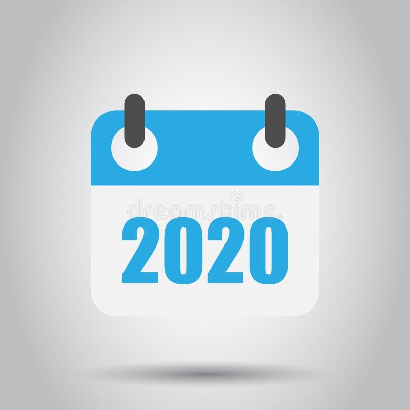 日历2020年在透明样式的组织者象 r r 向量例证