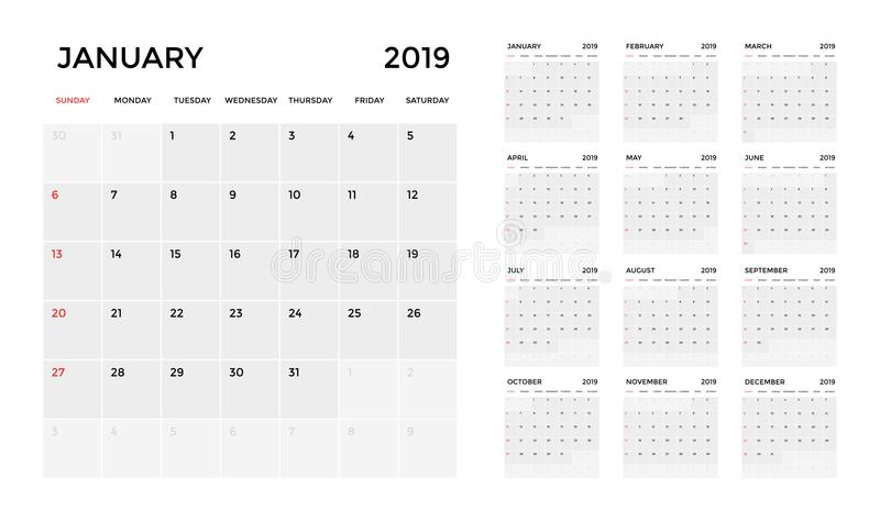 日历2019年模板 日历计划星期 向量例证