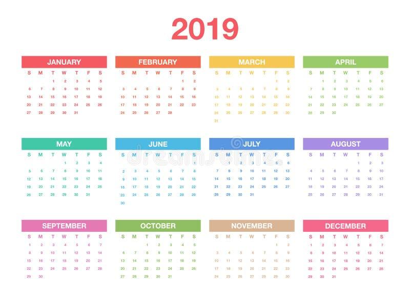 日历2019年模板 计划者或调度程序的五颜六色的日历设计 向量图片