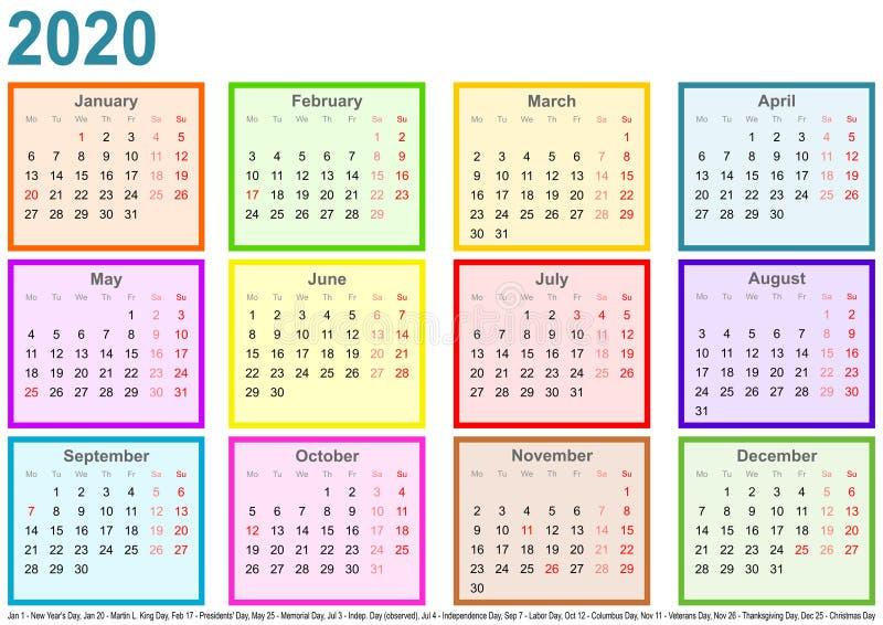 日历2020年每个月不同的色的方形的美国 皇族释放例证