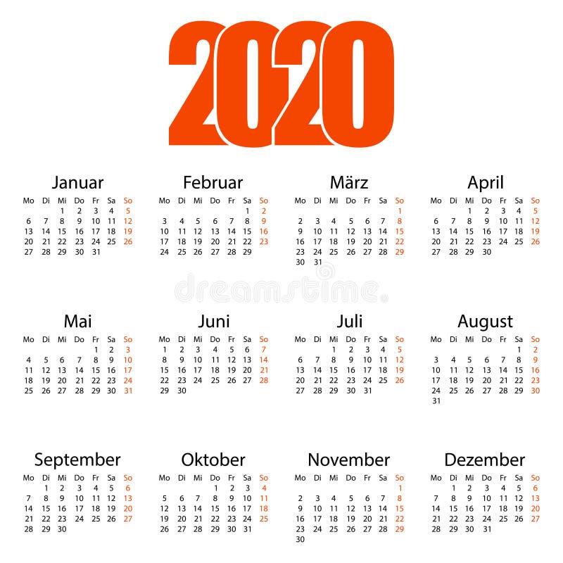 2020年德文日历 撕挂日历 个人组织者 白色背景 矢量图 向量例证