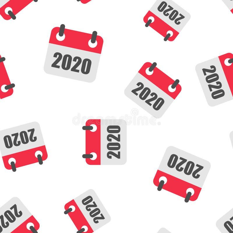 日历2020年组织者象无缝的样式背景 任命事件在白色被隔绝的背景的传染媒介例证 向量例证