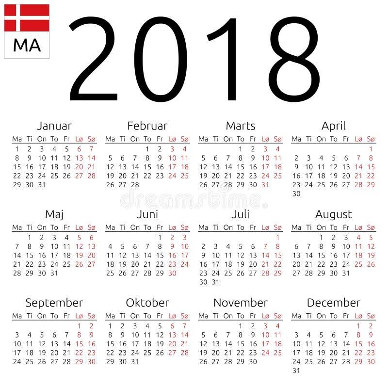 日历2018年,丹麦语,星期一 向量例证