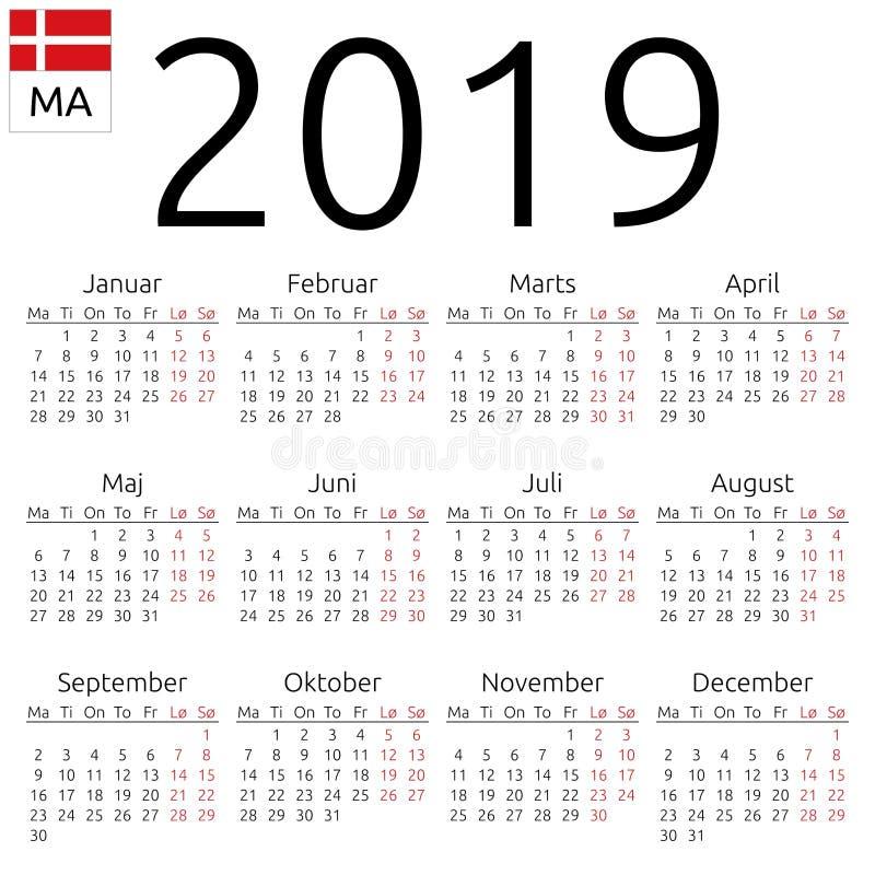 日历2019年,丹麦语,星期一 皇族释放例证