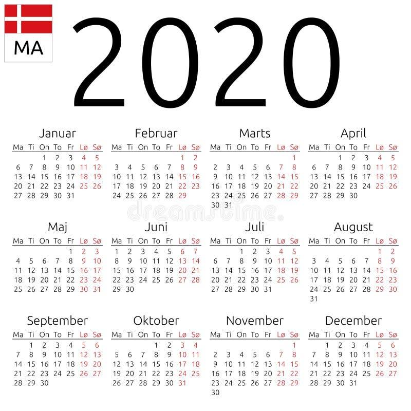 日历2020年,丹麦语,星期一 向量例证