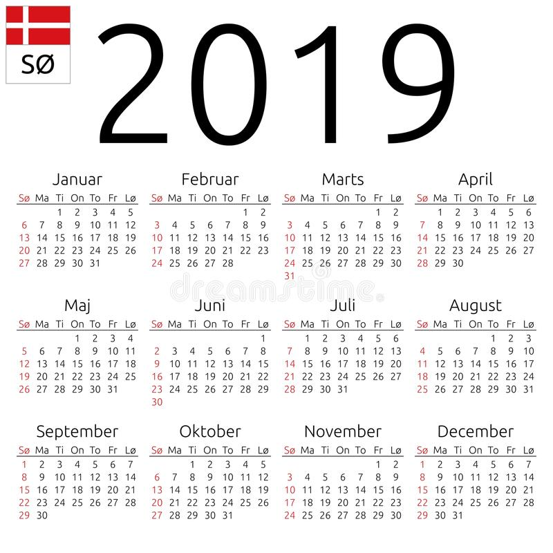 日历2019年,丹麦语,星期天 皇族释放例证