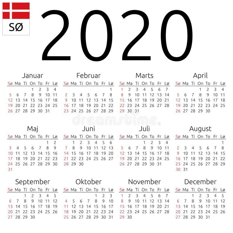 日历2020年,丹麦语,星期天 皇族释放例证