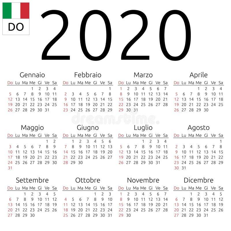 日历2020年,意大利语,星期天 向量例证