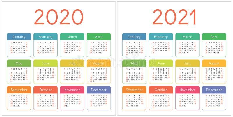 日历2020年,2021年 五颜六色的集 在星期天,星期起始时间 基本网格 口