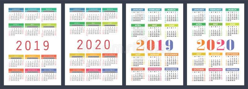 2020年 基本的传染媒介集合 在星期天,星期起始时间 五颜六色的设计图片