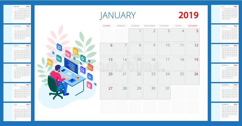 日历2019年 与地方的传染媒介模板照片的 12个月 等量开发的编程的和编码的技术 向量例证
