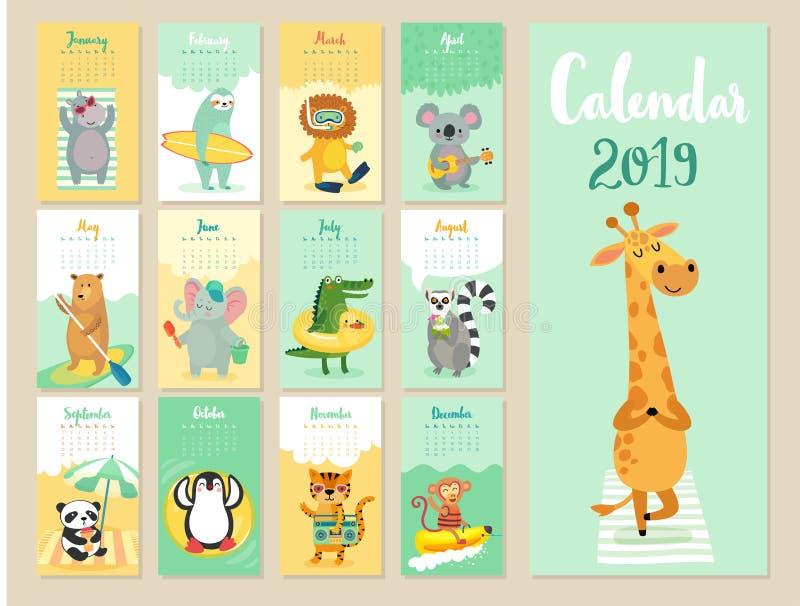 日历2019年 与森林动物的逗人喜爱的月度日历 向量例证