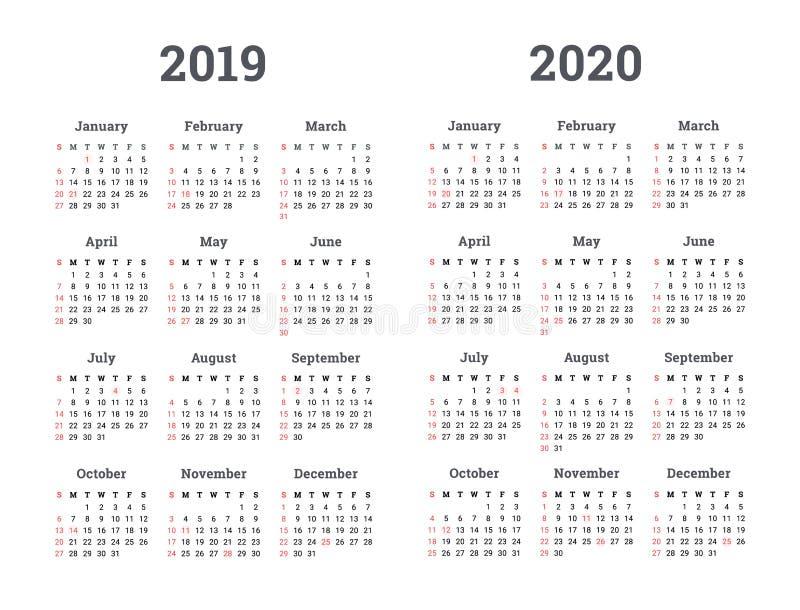 日历2019 2020年-传染媒介例证 在星期一,星期起始时间 向量例证
