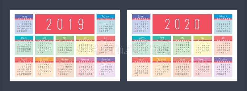 日历2019年2020年 口袋五颜六色的日历集合 明亮和古芝