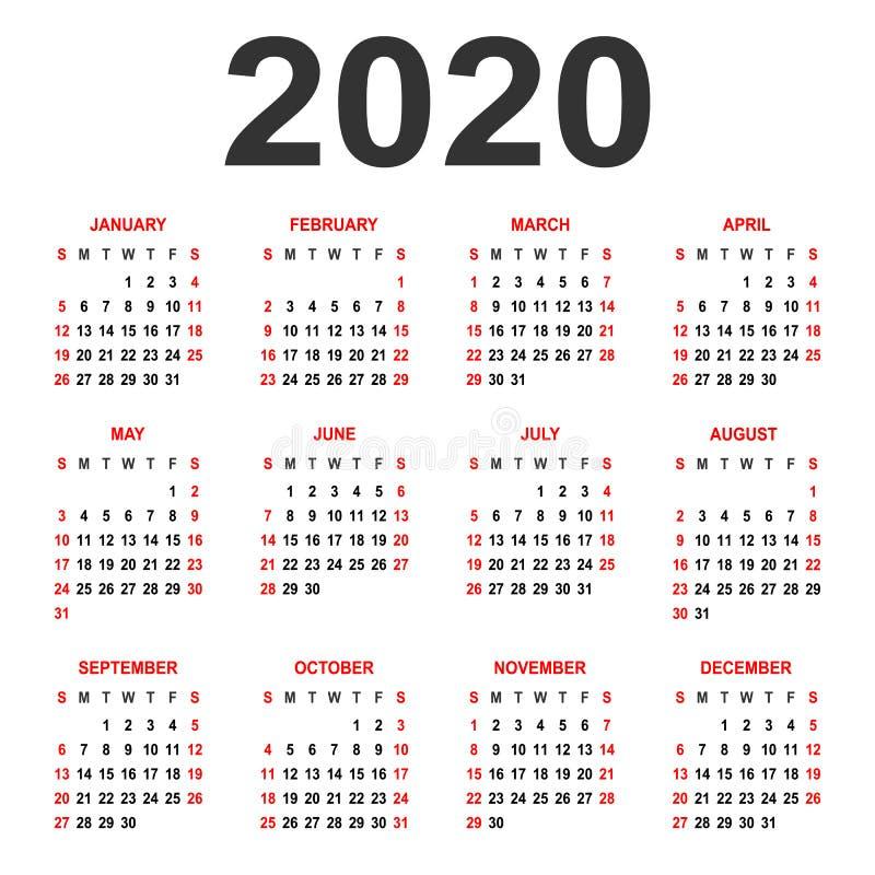 日历2020年 在星期天,星期起始时间 基本网格.图片