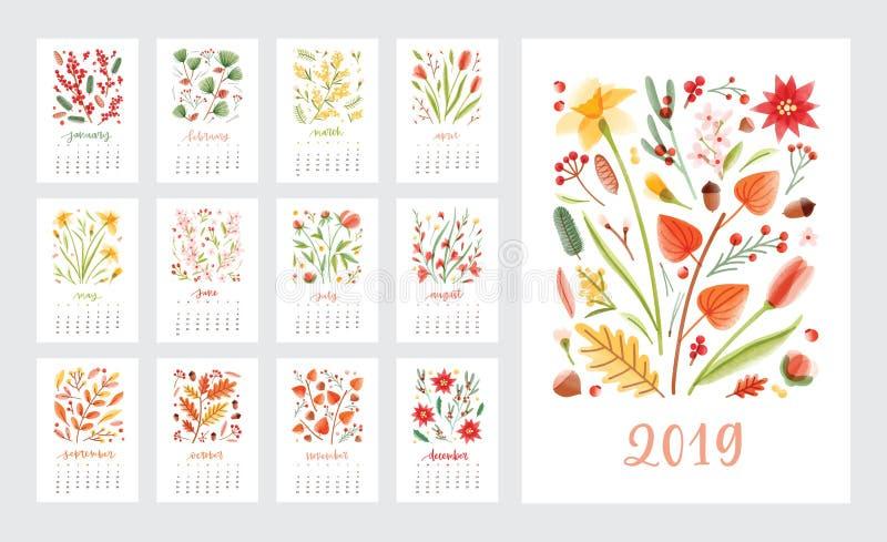 日历2019年 套用美丽的花和季节性植物与几个月装饰的页模板白色的 库存例证